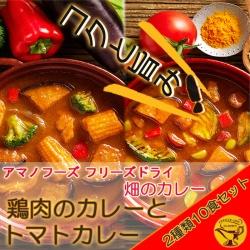 アマノフーズ フリーズドライ 畑のカレー 鶏肉のカレーとトマトカレー2種類10食セット